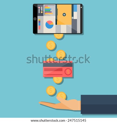 Earning through the Internet, the process of withdrawal - stock vector