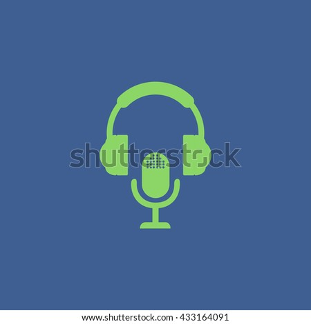 earphone and microphone icon. Concept illustration for design. - stock vector