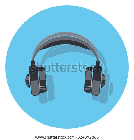 earphone flat icon in circle - stock vector