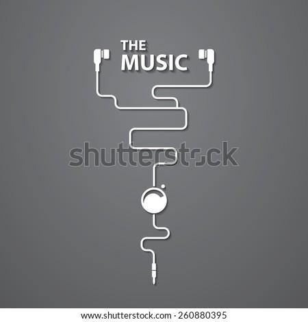 earphone music - stock vector