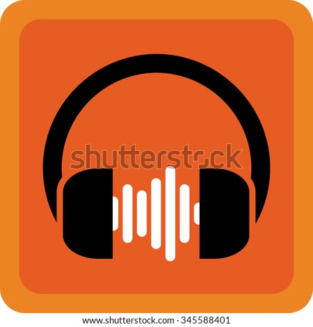 Earphone music icon - stock vector