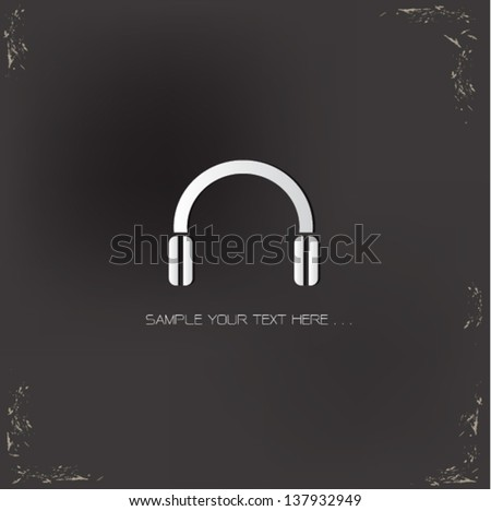 Earphone sign,vector - stock vector