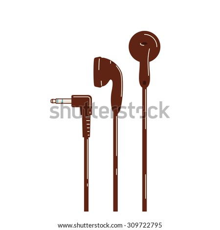 Earphone used for listening to music on a portable media player. - stock vector