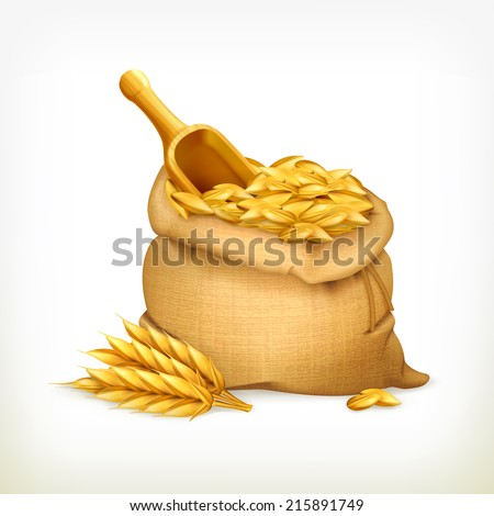 Ears and wheat bag, isolated vector illustration - stock vector