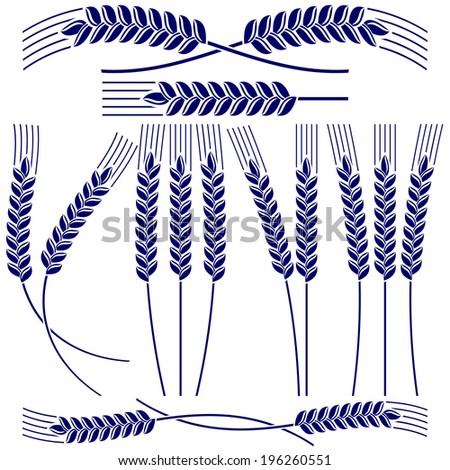 Ears of wheat and rye  icon  set vector  illustration - stock vector