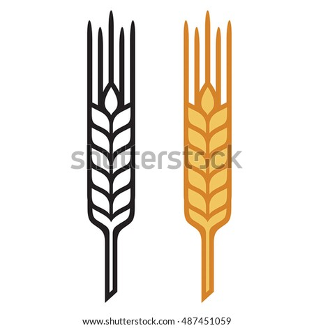 Ears of Wheat, Barley or Rye, vector visual graphic icons,