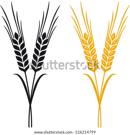Ears of Wheat, Barley or Rye vector visual graphic icons, ideal for bread packaging, beer labels etc. - stock vector