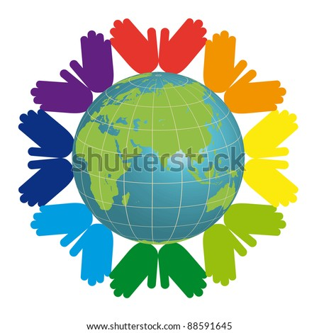 earth and color hands - stock vector