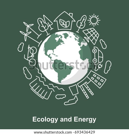 Earth and energy sources. Ecological concept development Electric power sources. Linear and flat style. Save the planet vector illustration.