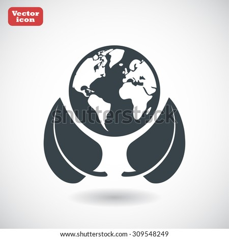 earth and leaf icon. Vector  Eps 10  - stock vector