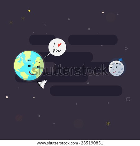 earth and moon. love concept - vector illustration - stock vector