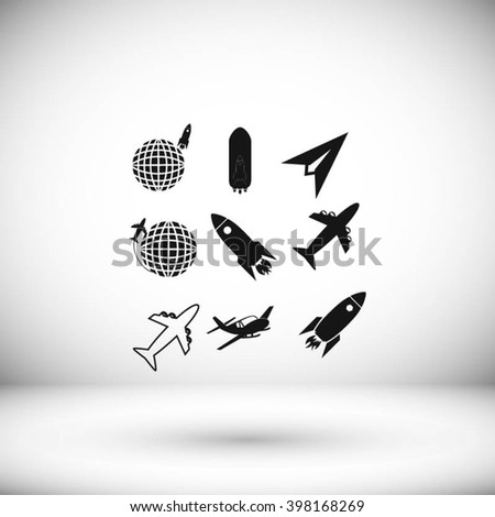 Earth and rockets icon - stock vector