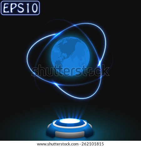 earth and satellite trail effect.(atom model) - stock vector