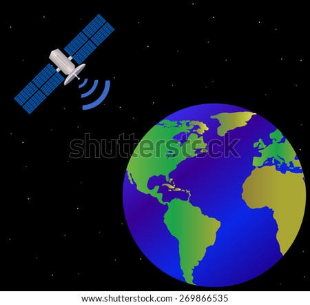 earth and satellite, vector - stock vector