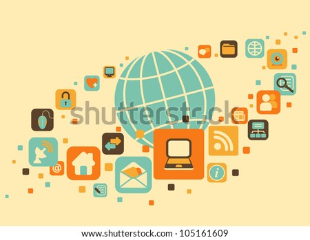Earth and social, media, web icons - stock vector