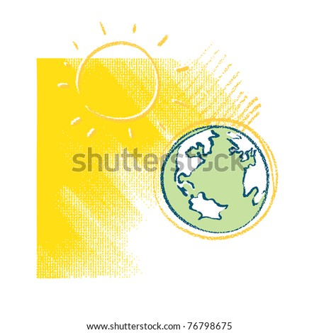Earth and Sun - icon - stock vector