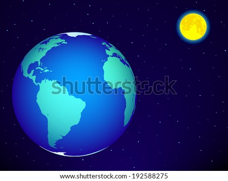 Earth and the full moon on the night sky. Elements of this image furnished by NASA  - stock vector