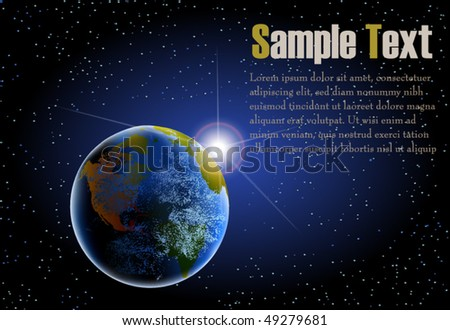 Earth as seen from space with rising sun background in landscape - stock vector