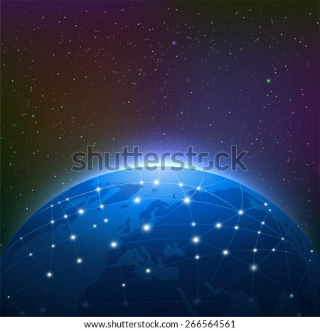 Earth at Night Among Starry Sky is Surrounded by a Luminous Network - stock vector