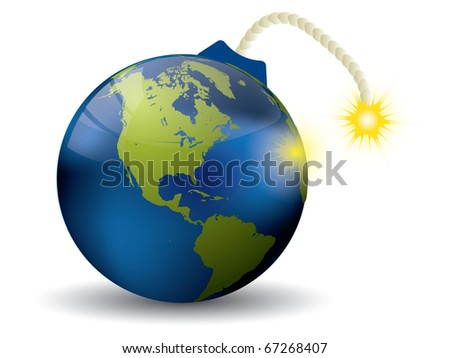 Earth bomb on white - stock vector