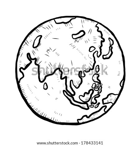 earth / cartoon vector and illustration, black and white, hand drawn, sketch style, isolated on white background. - stock vector