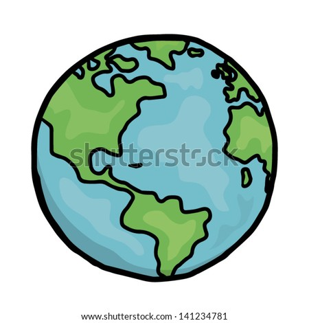 earth / cartoon vector and illustration, hand drawn, isolated on white background. - stock vector