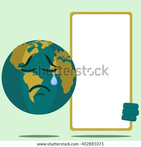 Earth Character Holding Signboard