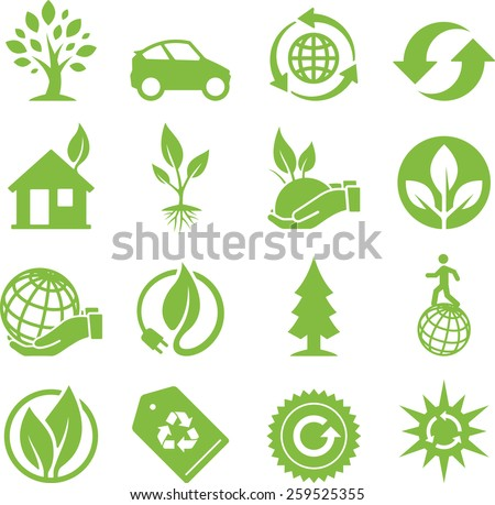 Earth conservation and ecology icon set. Vector icons for digital and print projects.