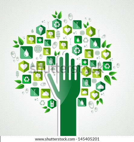 Earth conservation icons hand tree concept . Vector file layered for easy manipulation and custom coloring.