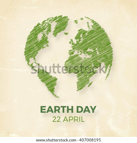 Earth day, April 22, graphic illustration poster - stock vector