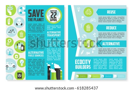 environment brochure template - earth day brochure template save planet stock vector