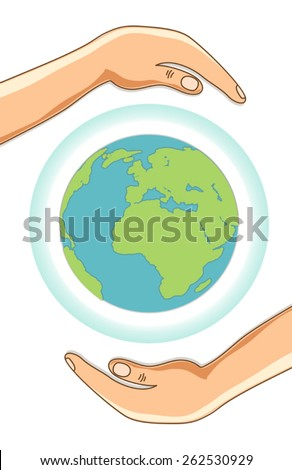 Earth Day concept card as globe with ozone layer protected with hands - stock vector
