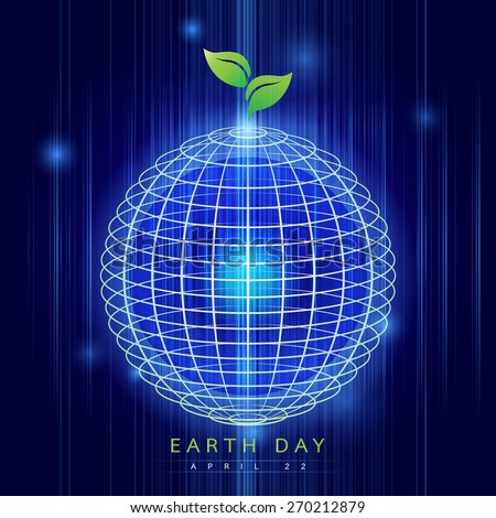 Earth Day: Earth digitally generated image of blue light and stripes moving fast over blue background - stock vector