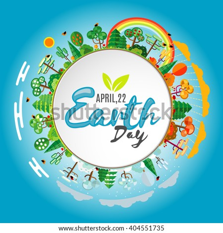 Earth Day. Eco friendly ecology concept. Flat Vector illustration. Earth day flat concept. World environment day background. Save the earth. Green day. - stock vector