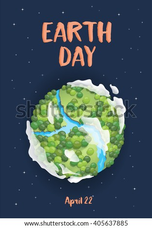 Earth day. Green Planet concept with forest and river. Vector illustration. - stock vector
