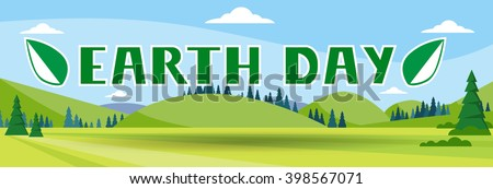 Earth Day Holiday Nature Summer Landscape Banner Vector Illustration - stock vector