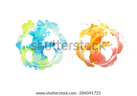 Earth day illustration with hand drawn watercolor planets. - stock vector