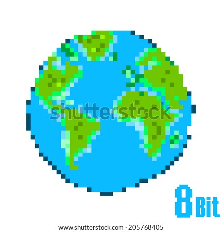 Earth Day Pixel. Save the Earth concept style 8 bit. - stock vector