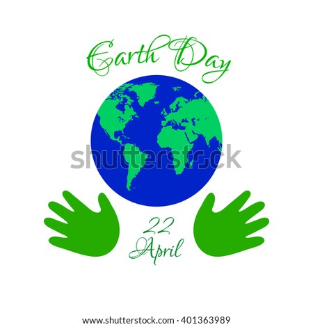 Earth day planet in kids hands. Vector Illustration.
