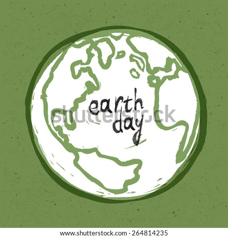 Earth day poster. On recycled paper texture - stock vector