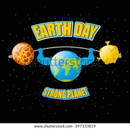 Earth Day. Strong planet and sports barbell. Powerful doing exercises. Black outdoor space  - stock vector