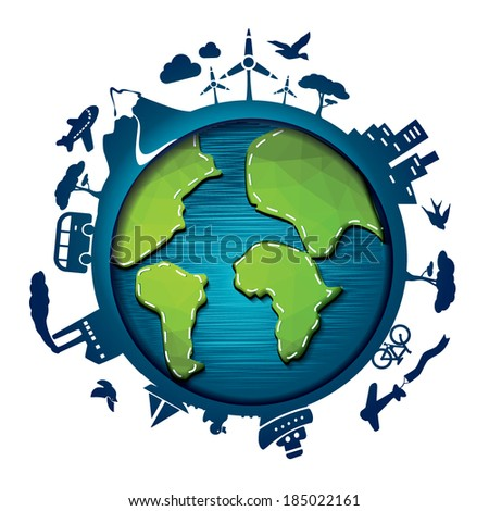 Earth Day Template - suitable for posters, flyers, brochures, banners, badges, labels, wallpapers, web design, advertising, publicity or any branding. - stock vector