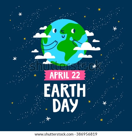 Earth day vector cartoon card  - stock vector