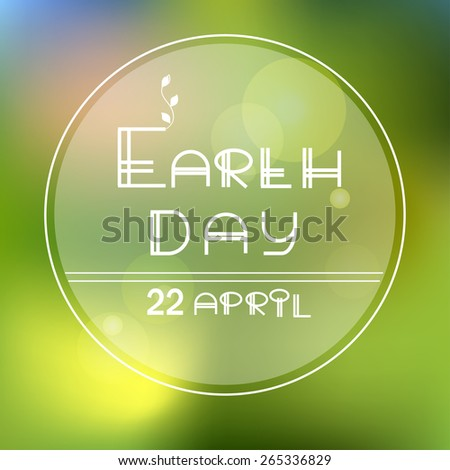 Earth day vector green icon, ecological label - stock vector