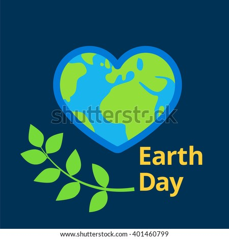Earth day written near flat planet earth vector in shape of heart sign. Design for greeting cards or banners on dark blue space background, planet heart and green leaves. Earth day icon - stock vector - stock vector