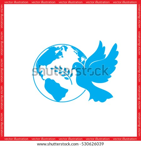 Earth, dove, olive branch icons vector illustration eps10.