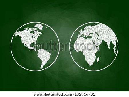 Earth drawing on blackboard - stock vector