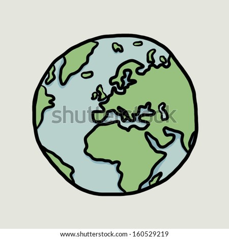 earth, Europe / cartoon vector and illustration, hand drawn, sketch style, isolated on white background. - stock vector