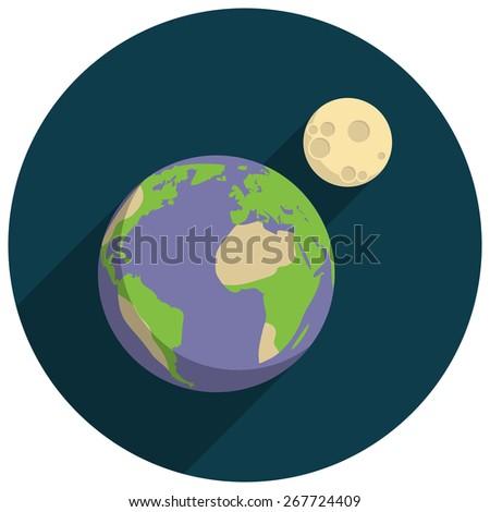 Earth, Flat design, vector illustration, long shadow - stock vector