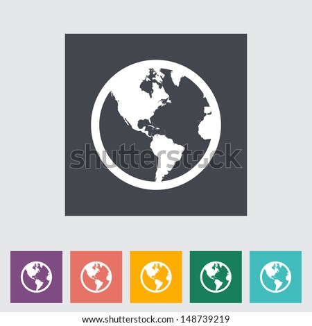 Earth flat icon. Vector illustration. - stock vector